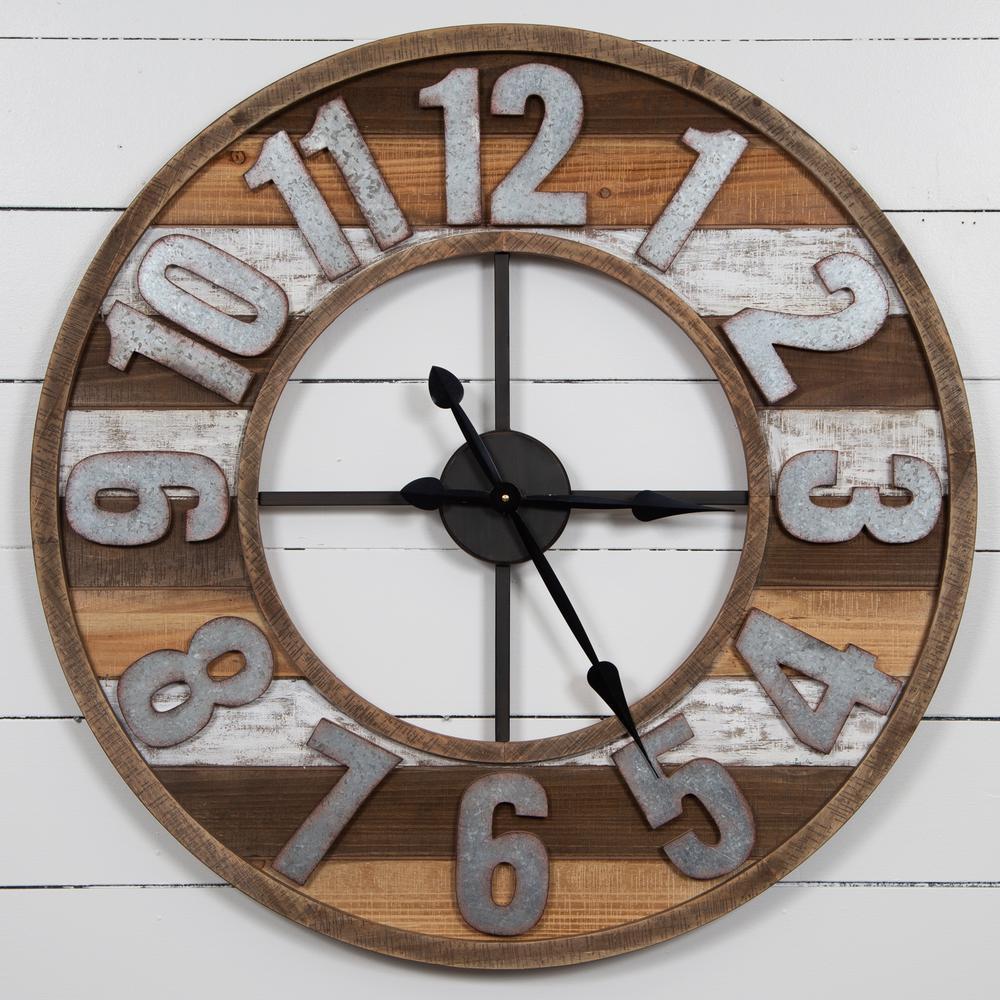 Rustic Reclaimed Wood and Metal Brown Wall Clock
