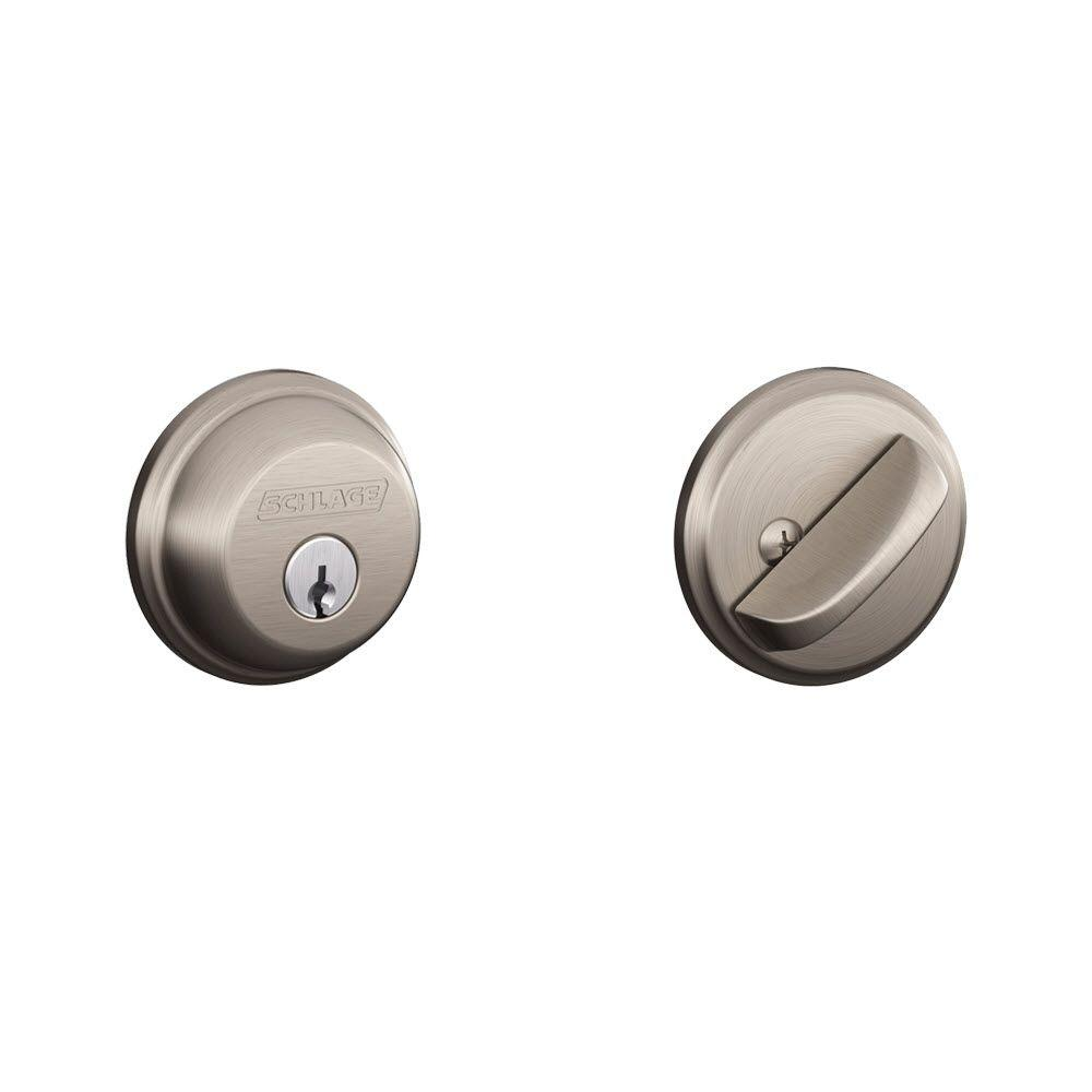 Schlage Satin Nickel Single Cylinder Deadbolt B60n 619 The Home Depot