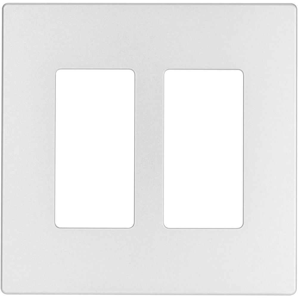 Aspire 2-Gang Screwless Wall Plate - Silver Granite