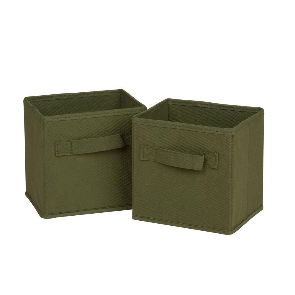 4.9 Qt. Mini Non-Woven Foldable Cube Bin in Green (6-Pack)
