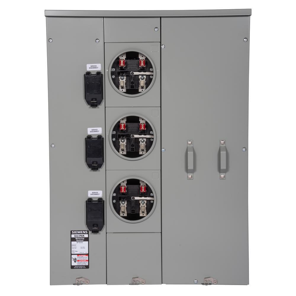 Uni-PAK 3-Gang 400 Amp Ringless Style 100kA Multi-Family Metering