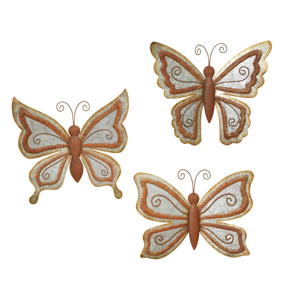 Antique Galvanized Metal Butterfly Wall Art (Set Of