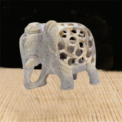 Stone Elephant Mom with Baby in Tummy Statue