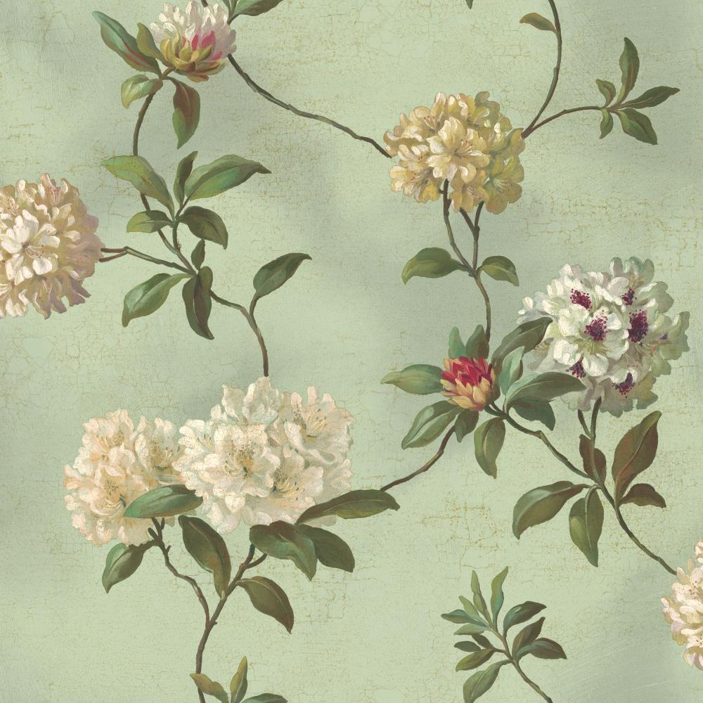 York Wallcoverings Rhododendron and Script Wallpaper