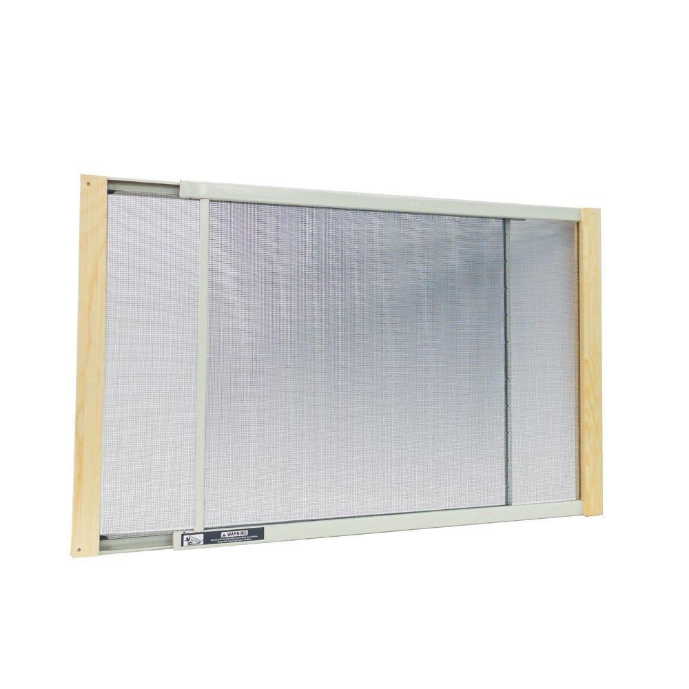 21 - 37 in. W x 15 in. H Clear Wood Frame Adjustable Window Screen
