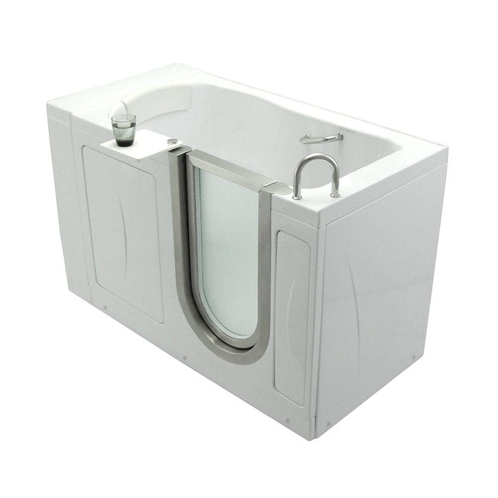 Elite 4.33 ft. x 30 in. Acrylic Walk-In Soaking Bathtub in