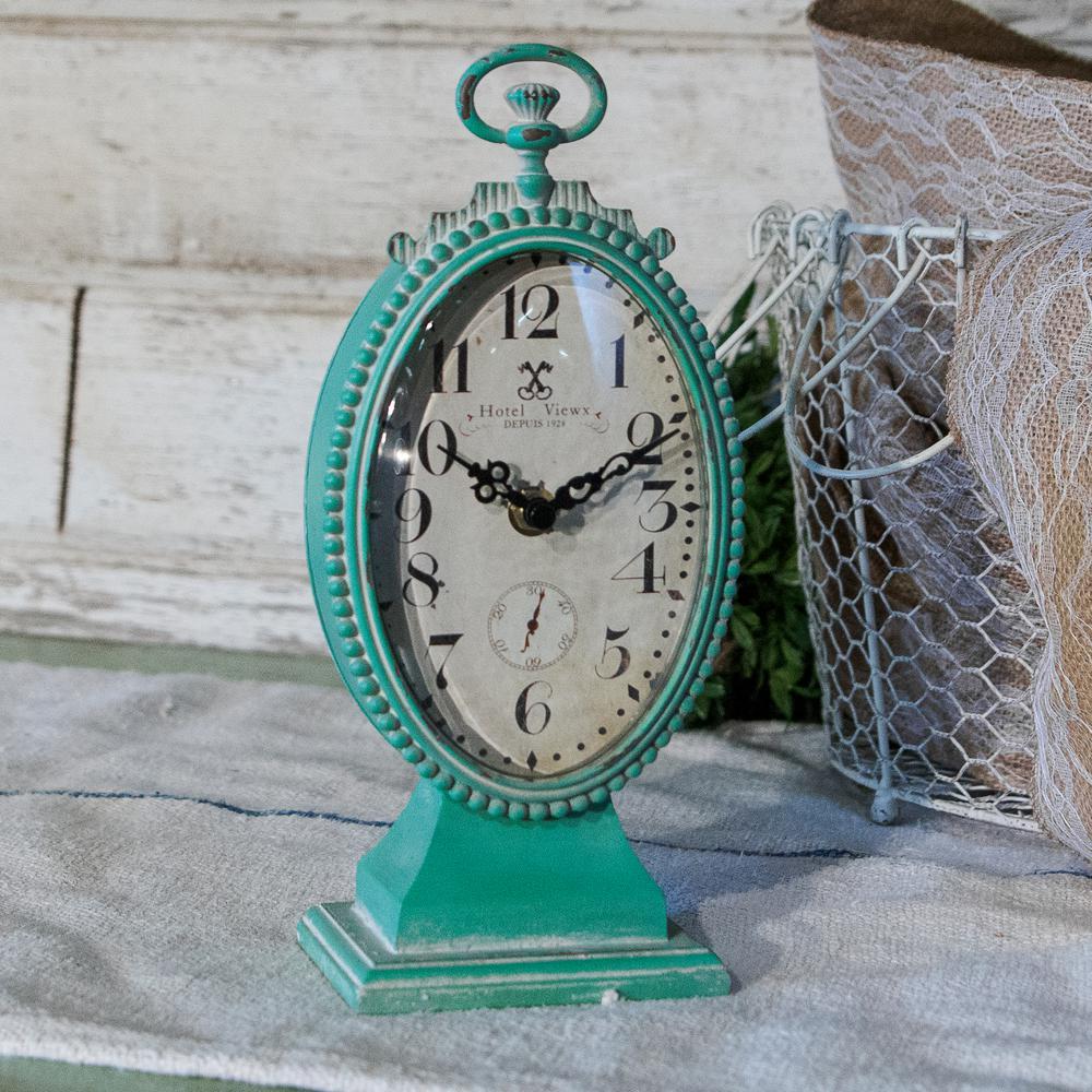 Blue Oval Metal Table Clock