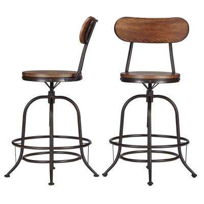 24 in. Olson Industrial Brown Swivel Bar Stool (Set of 2)