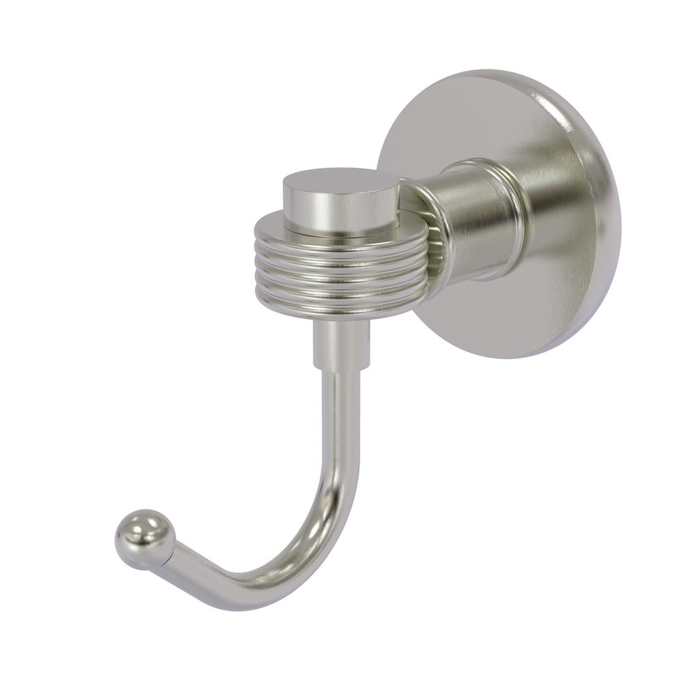 Continental Collection Wall-Mount Robe Hook with Groovy Accents in Satin Nickel