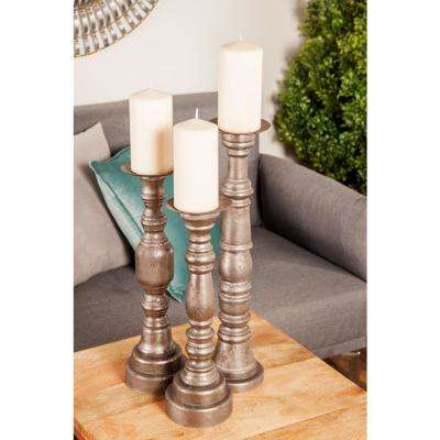 Gray Fir Wood Turned Design Candle Holders (Set of 3)
