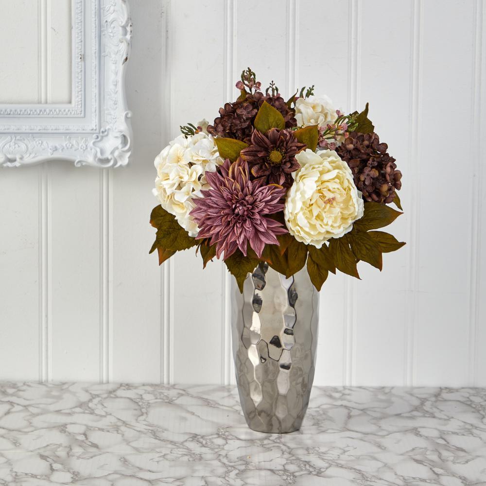 22 in. Peony, Hydrangea and Dahlia Artificial Arrangement in Silver Vase