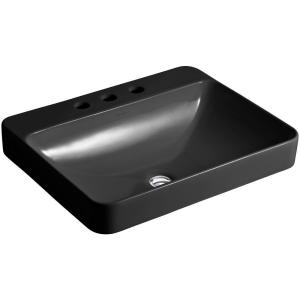 Vox Rectangle Above Counter Vitreous China Vessel Sink In Black Black With  Overflow Drain