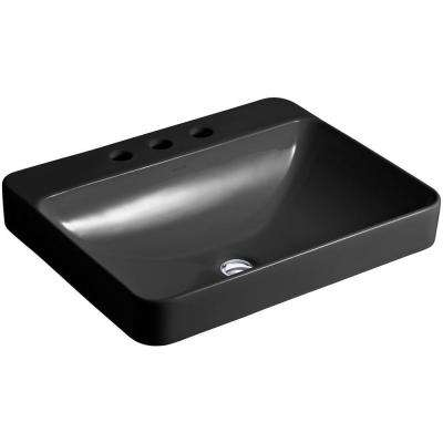 Vox Rectangle Above-Counter Vitreous China Vessel Sink in Black Black with Overflow Drain