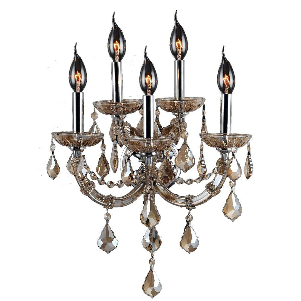 Lyre Collection 5-Light Chrome and Golden Teak Crystal Sconce
