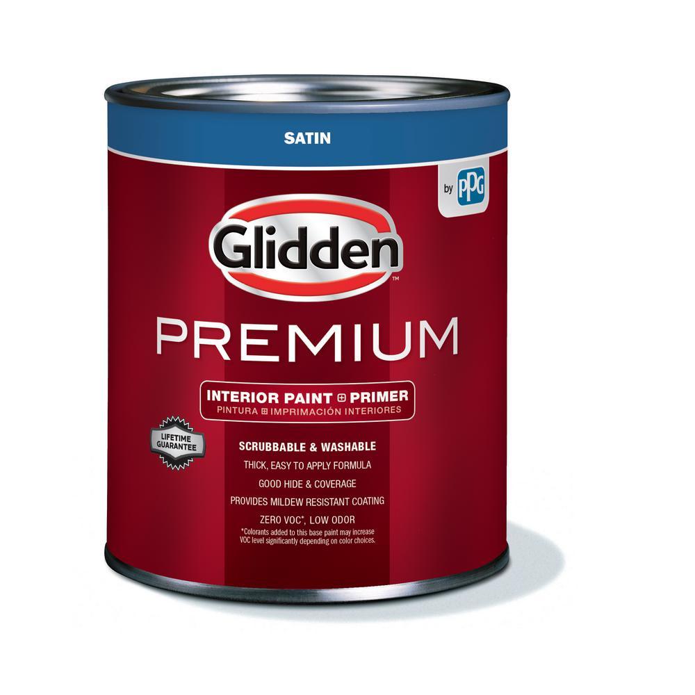 Glidden Premium 1 Qt Satin Interior Paint Gln6200 04 The Home Depot