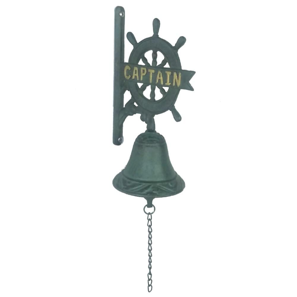Cast Iron Blue Captain Nautical Garden Bell
