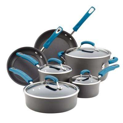 10-Piece Gray with Marine Blue Handles Hard-Anodized Aluminum Non-Stick Cookware Set