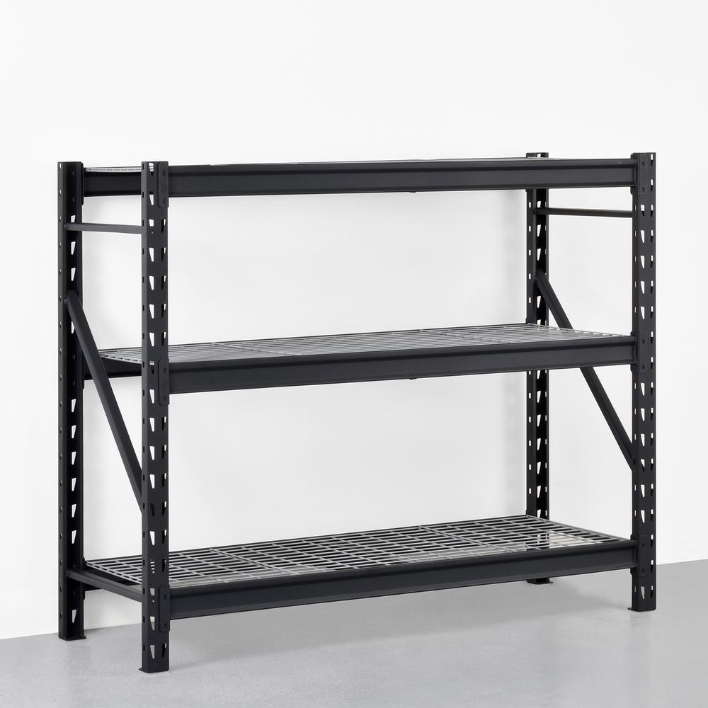 Black 3-Tier Heavy Duty Industrial Welded Steel Garage Shelving Unit (65 in. W x 54 in. H x 24 in. D)