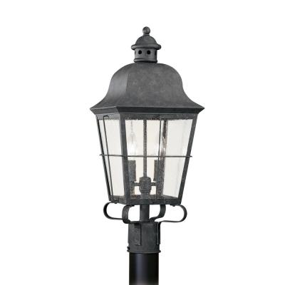 Chatham 2-Light Outdoor Oxidized Bronze Post Light with Dimmable Candelabra LED Bulb