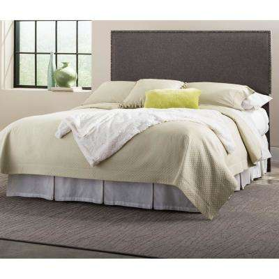 Brookdale Gray Queen-Size Upholstered Headboard Panel with Solid Wood Adjustable Frame and Nail Head Trim Design