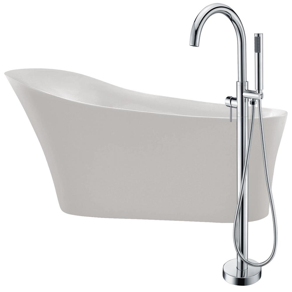Maple 67 in. Acrylic Flatbottom Non-Whirlpool Bathtub in White with Kros