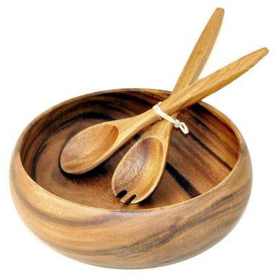 Natural 10 in. Wooden Calabash Bowl with Salad Servers (Set of 2)