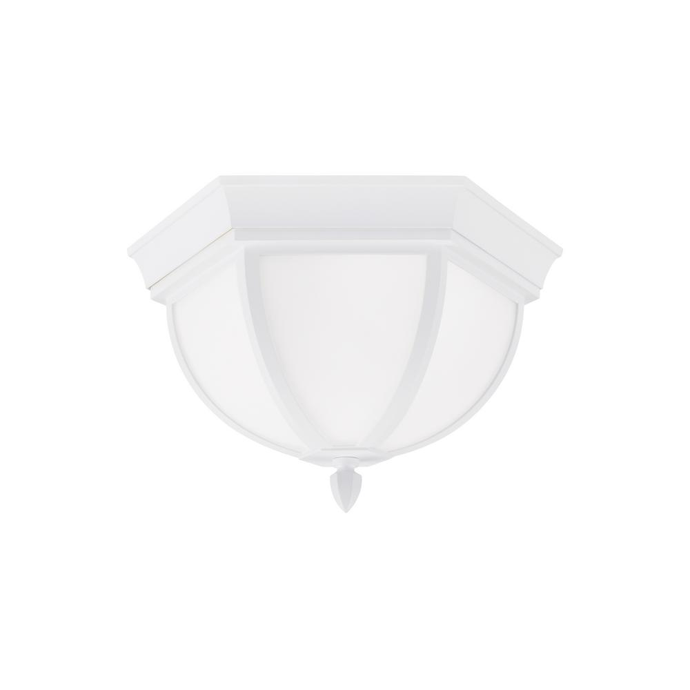 Brentwood White 2-Light Outdoor Flush Mount with LED Bulbs