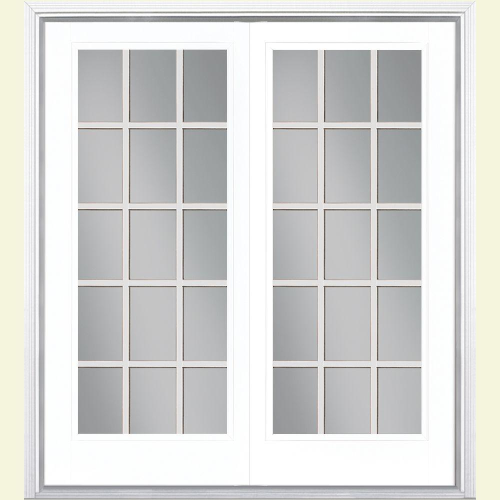 French Exterior Doors Steel: Masonite 60 In. X 80 In. Ultra White Prehung Right-Hand