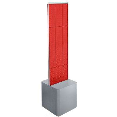 44 in. H x 13.5 in. W 2-Sided Pegboard on Silver Studio Base - Red