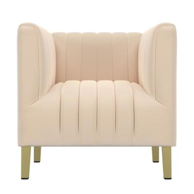 Nude Pink Velvet Parkway Channel Tufted Club Chair