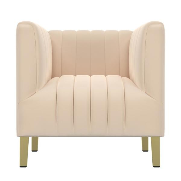 Handy Living Nude Pink Velvet Parkway Channel Tufted Club Chair 340C-VBF41-285