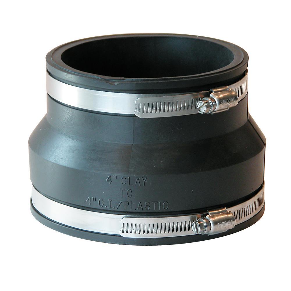 Fernco 4 In Clay X 4 In Dwv Flexible Pvc Coupling P1002