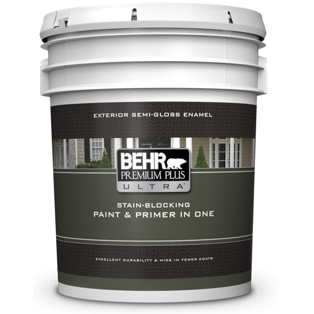 behr premium plus ultra 5 gal ultra pure white semi gloss enamel paint and primer in one 585005. Black Bedroom Furniture Sets. Home Design Ideas