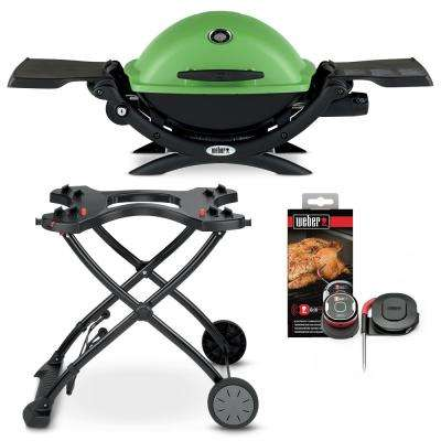 Q 1200 1-Burner Portable Propane Gas Grill in Green Combo with Rolling Cart and iGrill Mini