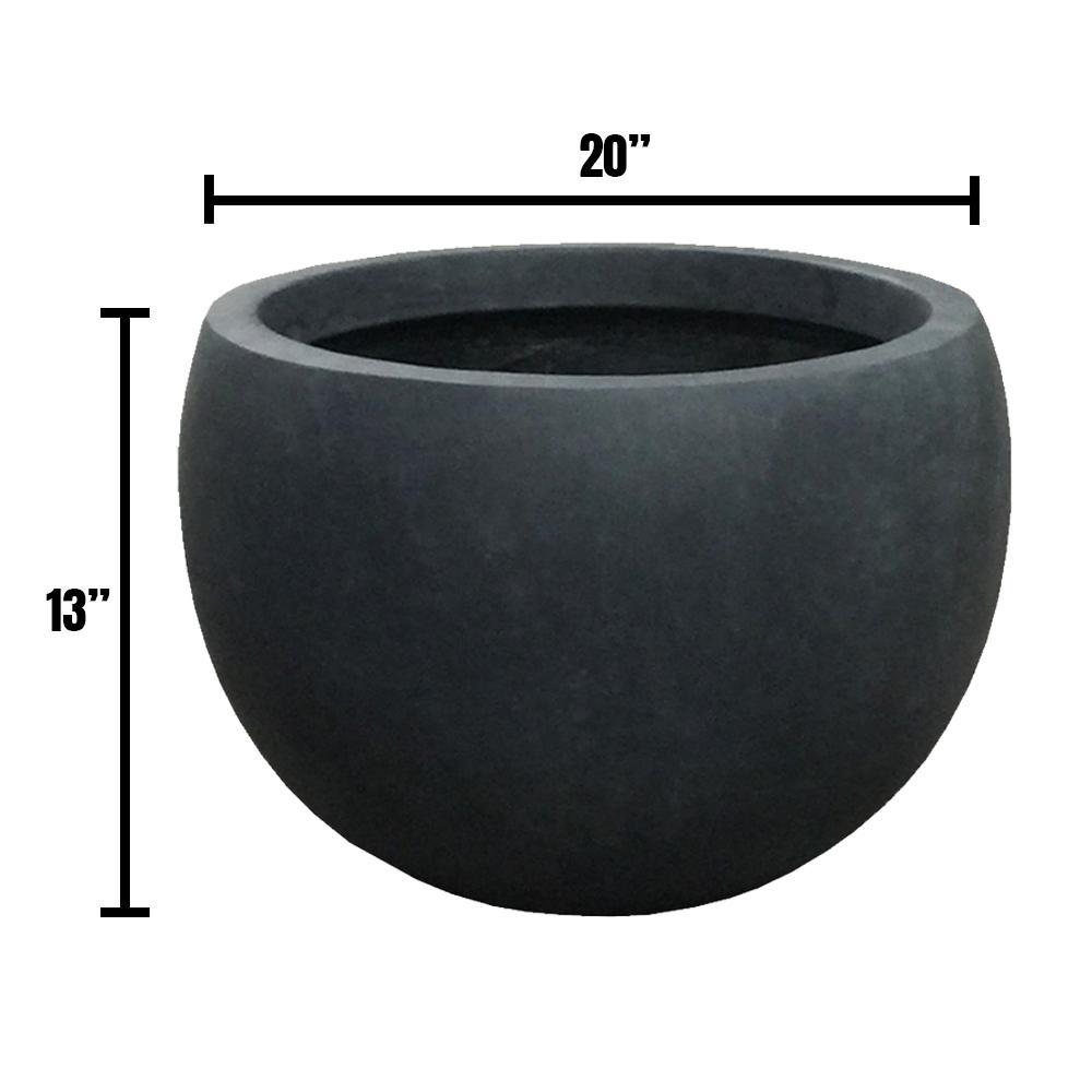 DurX-litecrete Large 19.7 in. x 19.7 in. x 13 in. Granite Color Lightweight Concrete Bowl Planter