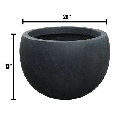 Large 19.7 in. x 19.7 in. x 13 in. Granite Color Lightweight Concrete Bowl Planter