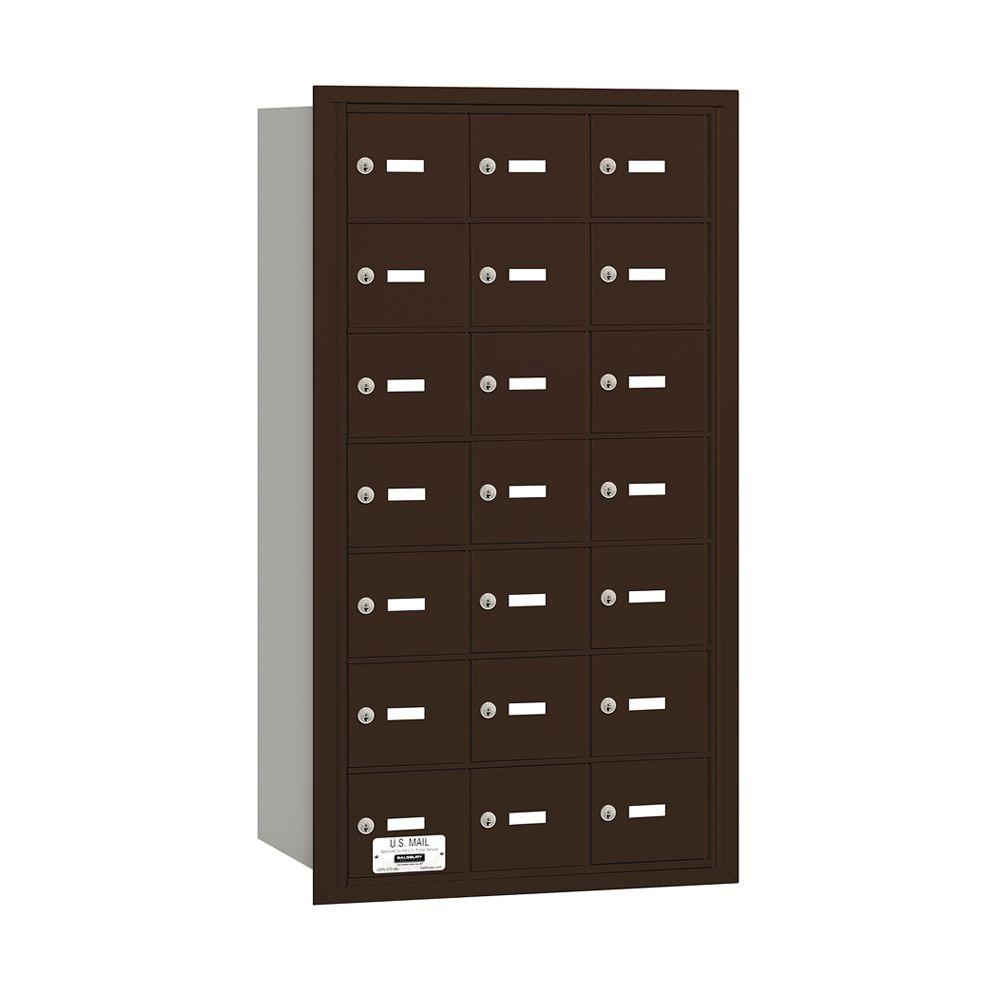Salsbury Industries 3600 Series Bronze Private Rear Loading 4B Plus Horizontal Mailbox with 21A Doors
