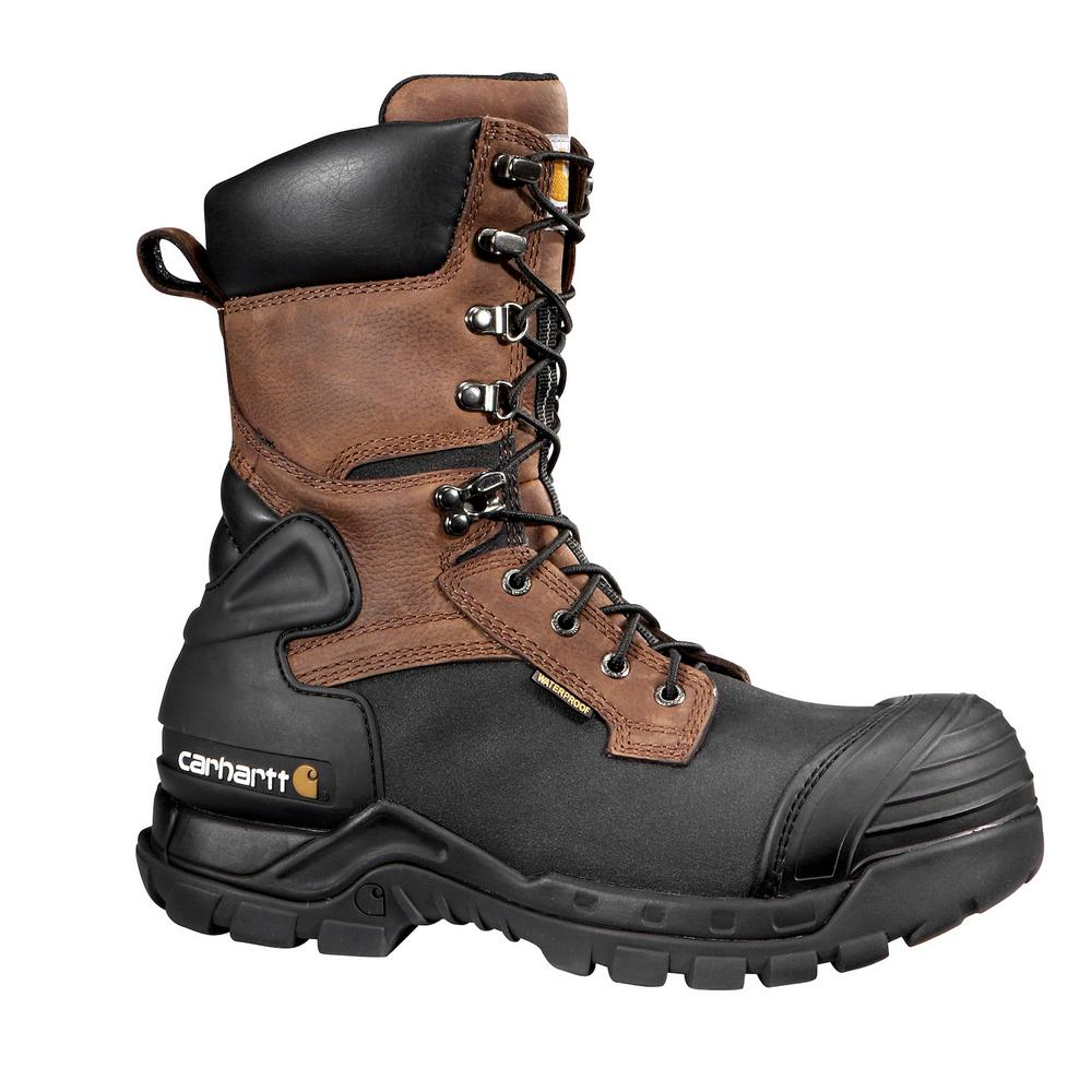 88c232f9083 Carhartt Men's 10.5M/W Blk PU Coated Leather/Brn Leather Shaft Waterproof  Insulated Composite Safety Toe 10 in. Work Boot