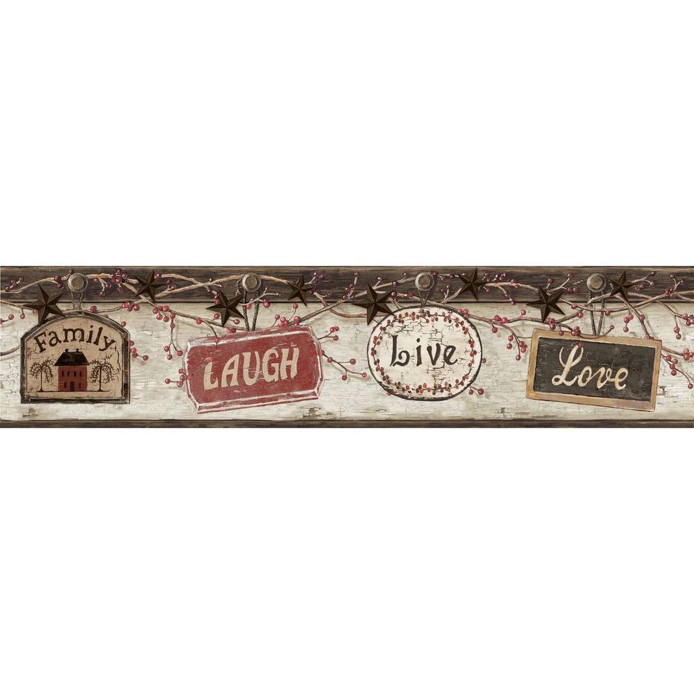 Kinsey Black Live Laugh Love Wallpaper Border Sample