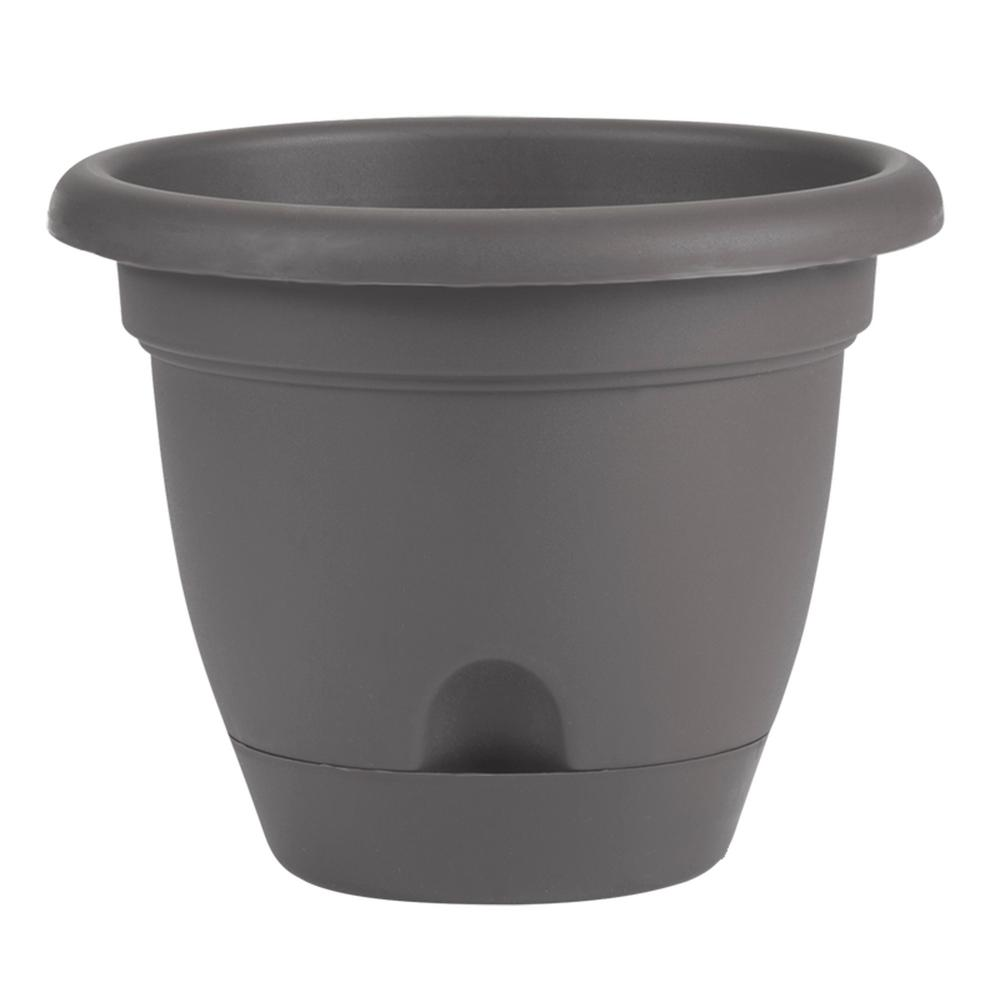 Bloem Lucca 16 in. x 14.25 in. Charcoal Plastic Self Watering Planter with Saucer