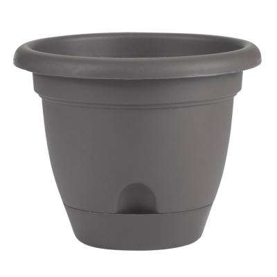 Lucca 16 in. x 14.25 in. Charcoal Plastic Self Watering Planter with Saucer