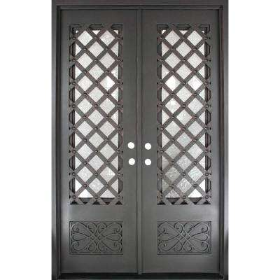 62 in. x 97.5 in. Luce Lattice Classic 3/4 Lite Painted Oil Rubbed Bronze Wrought Iron Prehung Front Door