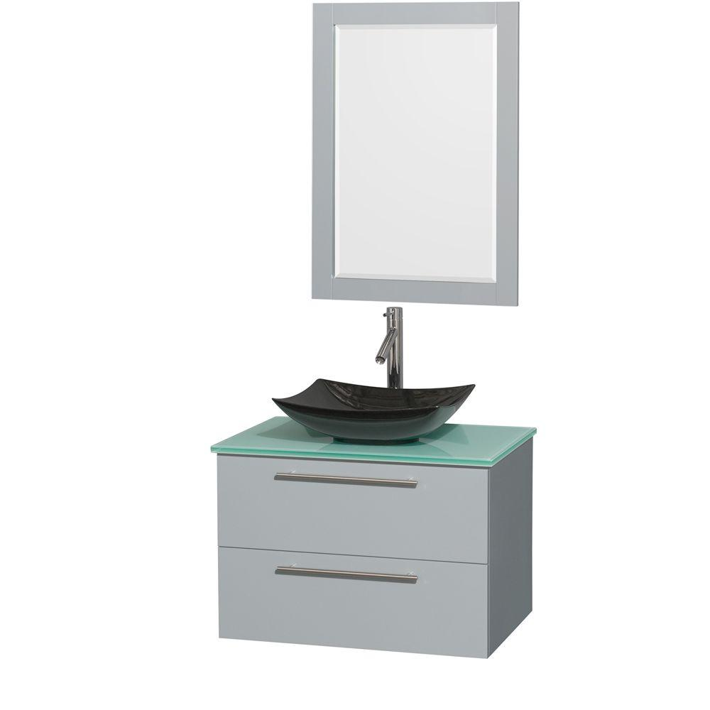 32530af56d2 Wyndham Collection. Amare 30 in. W x 20.5 in. D Vanity in Dove Gray with  Glass Vanity Top in Green with Black Basin and 24 in. Mirror