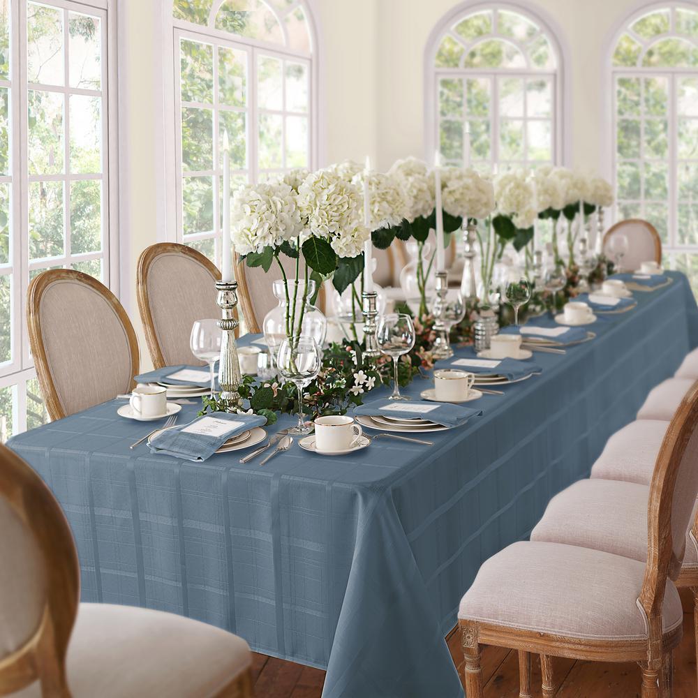 60 in. W x 120 in. L Blue Shadow Elrene Elegance Plaid Damask Fabric Tablecloth