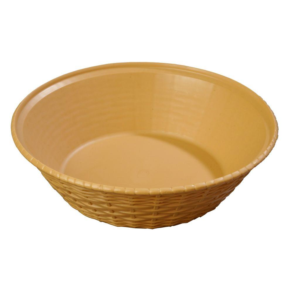 9 in. Diameter Polypropylene Round Serving Basket in Straw (Case of