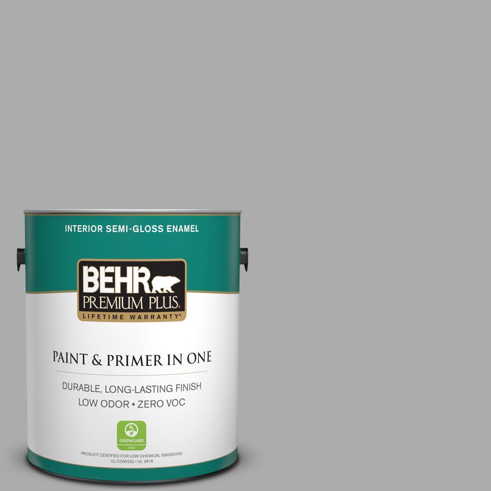 1-gal. #N520-3 Flannel Gray Semi-Gloss Enamel Interior Paint
