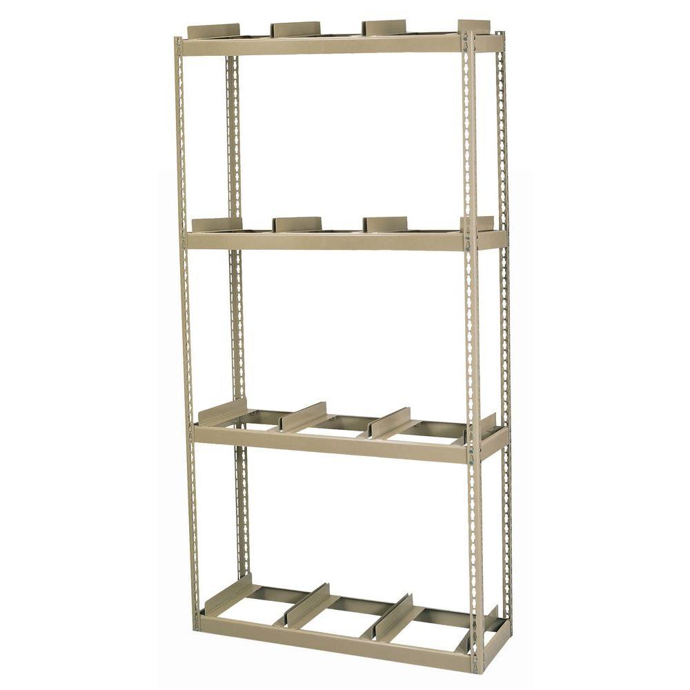 Edsal 84 in. H x 42 in. W x 16 in. D 4-Shelf Steel Commercial Rivet Lock Record Storage Rack With Rail in Tan