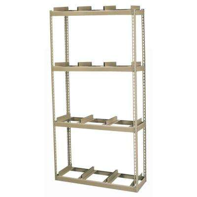 84 in. H x 42 in. W x 16 in. D 4-Shelf Steel Commercial Rivet Lock Record Storage Rack With Rail in Tan