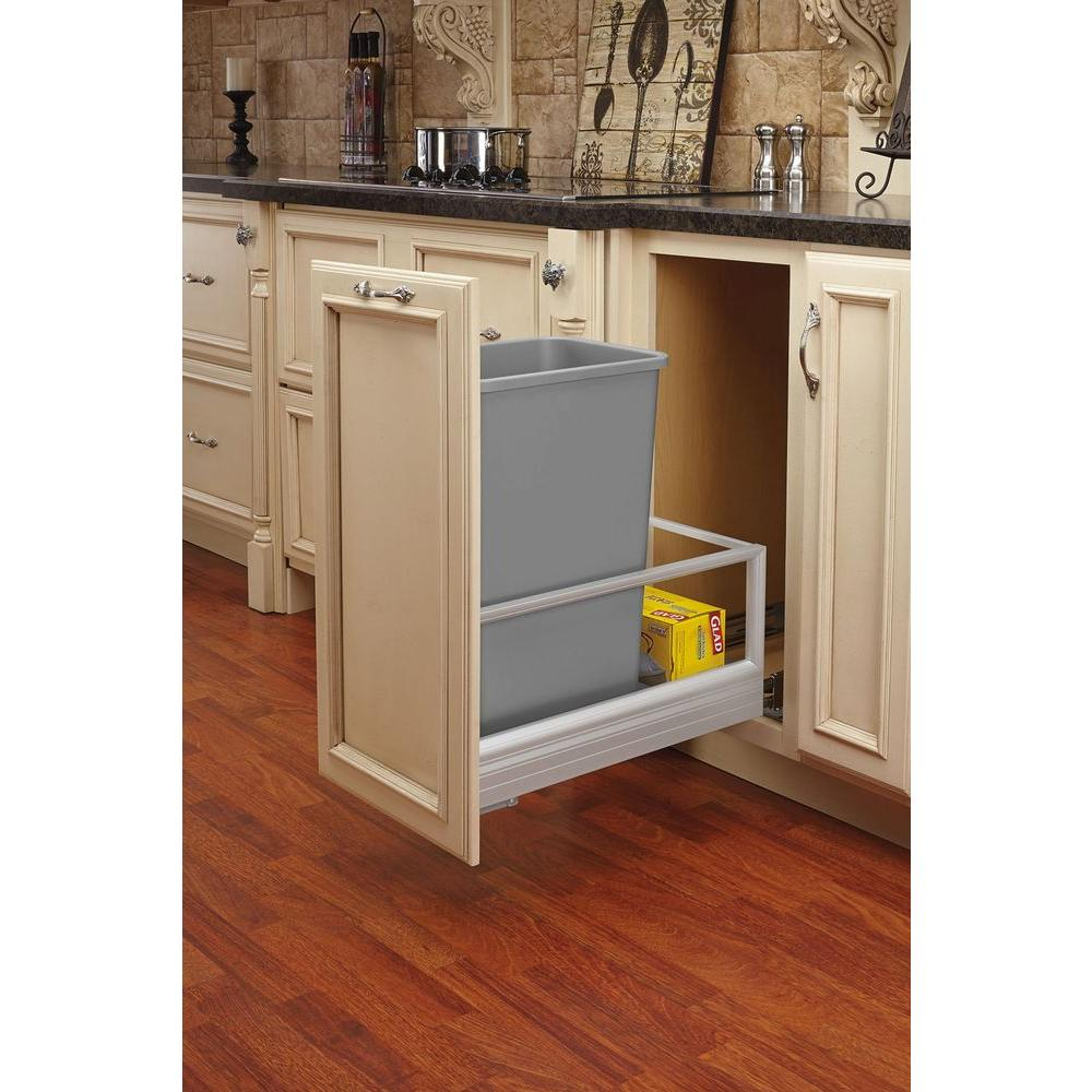 REV-A-SHELF Single 50 Qt. Pull-Out Brushed Aluminum and S...