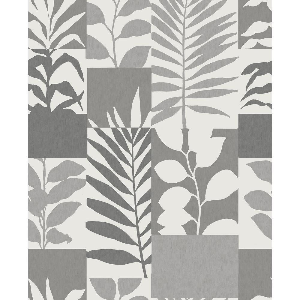 Advantage Hammons Silver Block Botanical Wallpaper Sample 2814-M1383SAM